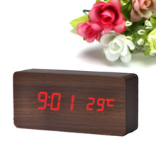 1pc Temperature Display Sounds Control Electronic Desktop LED Alarm Clock Wholesale free shipping A4