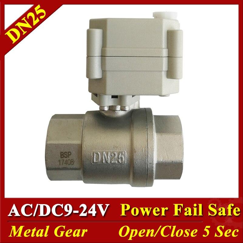 Tsai Fan 2 way full port SS304 1'' motorized ball valve with indicator DN25 AC/DC9V-24V normal open normal close elctric valve