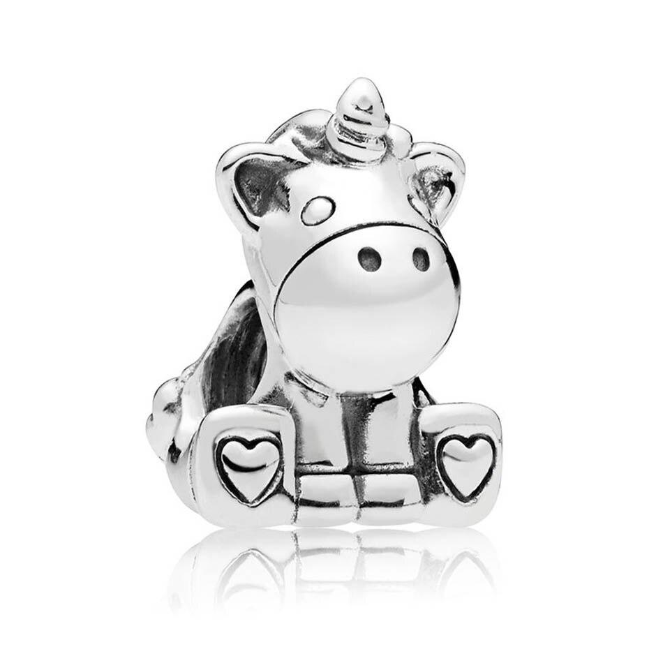 Authentic 925 Sterling Silver Bruno the Unicorn Bead Charm Fit Pandora Bangle Bracelet Lady DIY Jewelry