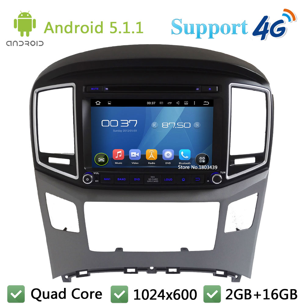 Quad Core 8″ 1024*600 Android 5.1.1 Car Multimedia DVD Player Radio Stereo PC USB FM DAB+ 3G/4G WIFI GPS Map For Hyundai H1 2016