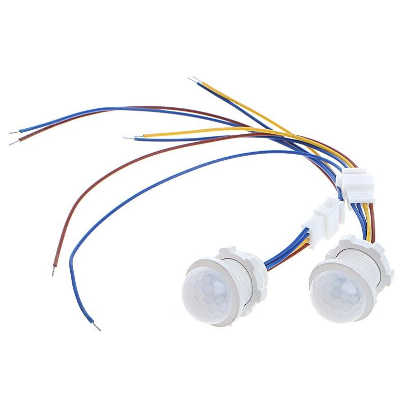 2 x 25mm LED PIR Detector Infrared Motion Sensor Switch w/Time Delay Adjustable