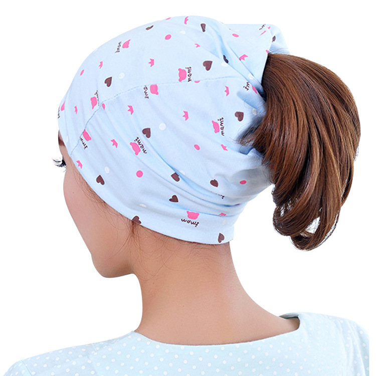 2017 summer fashion bamboo charcoal windproof breathable absorbent cotton cotton hair multi-function confined cap maternal cap