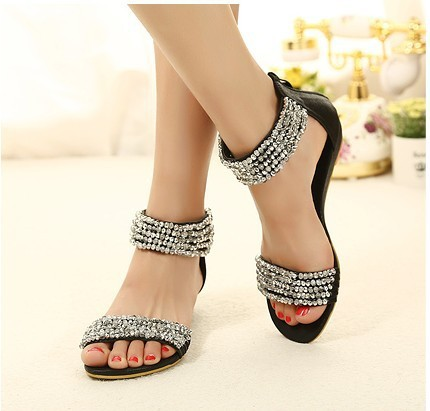 118994fd0fdfd Cheap Price Luxury Fashion Diamond Ankle Wrap Women Low Heels Sandals Shoes  With Hasp Free shipping-in Women s Sandals from Shoes on Aliexpress.com ...