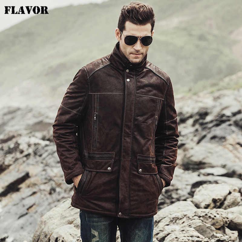 Мужской кожаный жакет FLAVOR, коричневая куртка из натуральной свиной кожи, теплое мужское пальто на хлопковой подкладке, новинка для зимы