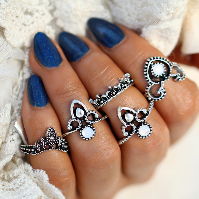17KM Big Opal Stone Knuckle Rings Set For Women Antique Silver Color Flower Midi Finger Ring Bohemian Vintage Jewelry 2018 New