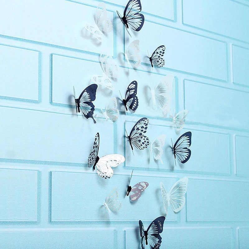 18 قطعة 3D الأسود والأبيض فراشة ملصقا جدار الفن صائق المنزل الديكور غرفة ديكور الساخن بيع