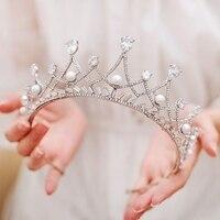 Royal Pearl Tiara Vintage Rhinestone Crown Bridal Jewelry Wedding Hair Accessories Princess Hairband Birthday Gift Smiply XL061