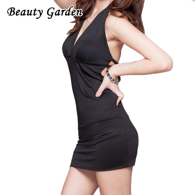 Beauty Garden Women Solid Sexy Mini Dress Fashion Backless Halter Sexy V-Neck Sleeveless Dress For Women Club