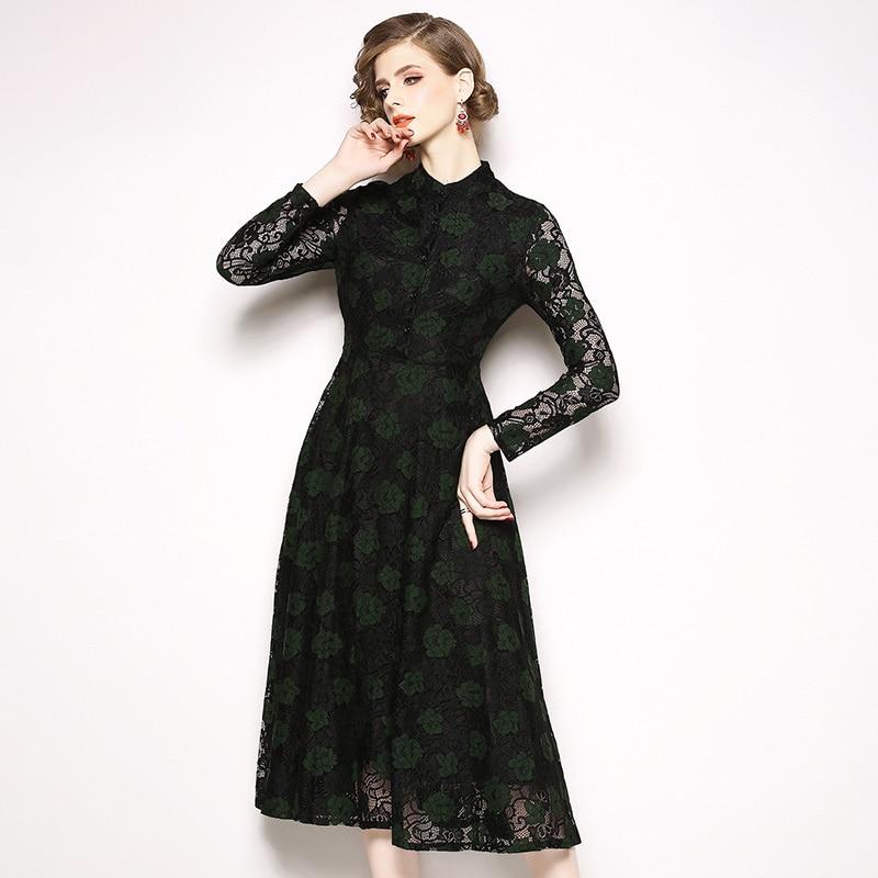87e0825ea58a9d ... Autumn Long Sleeve Vintage Hollow Lace Dress Vestidos Invierno 2018  Women Red Midi Party Dress Dames ...