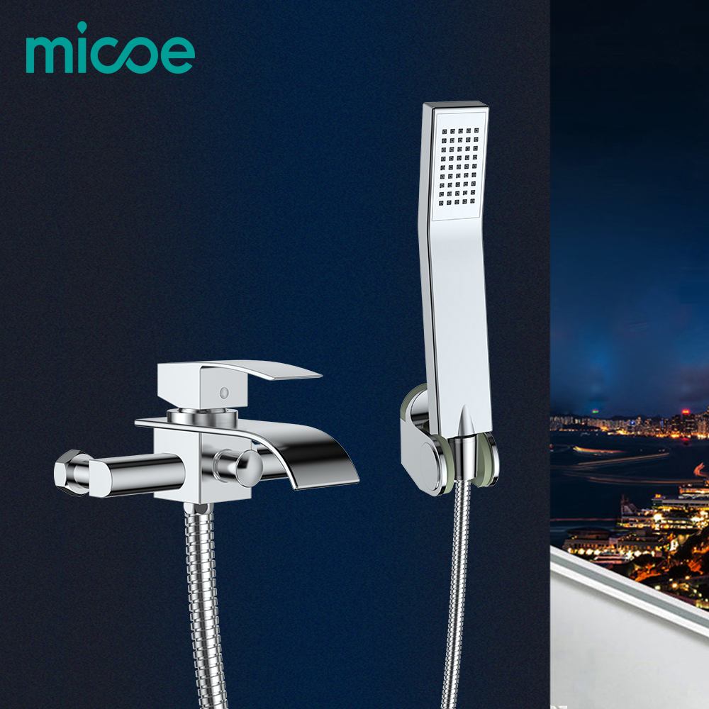 Micoe Bathtub Faucet Wall Mounted Bath Shower Faucet Bathroom Shower Faucet Set Waterfall Brass Shower Tap Shower Mixer thermostatic bathroom shower faucet solid brass bathtub mixer tap chrome finish wall mounted