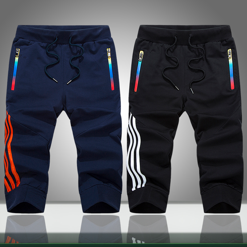 Mens Casual Shorts Summer Solid Striped Zipper Pockets Jogger Short Sweatpants Male Sportswear Bodybuilding Boardshorts Slim Fit