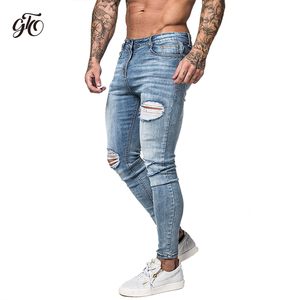 Image 4 - Gingtto Skinny Jeans For Men Faded Blue Ripped Distressed Stretch Hip Hop Slim Fit Pants Super Spray On Repaired Plus Size zm45