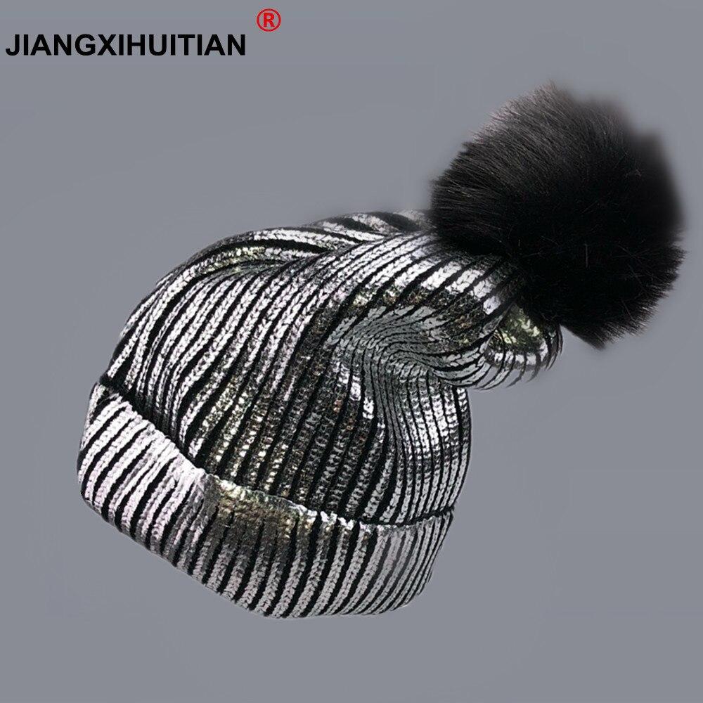 2018 Women Winter Ins Gold Silver Women's Knitwear Fashion Balaclava Hair Ball Winter Cap Hats For Women Beanie Hats