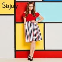 Sisjuly 60s Vintage Dresses Women Autumn Stripe Slash Neck Knee Length A Line Puff Sleeve Red