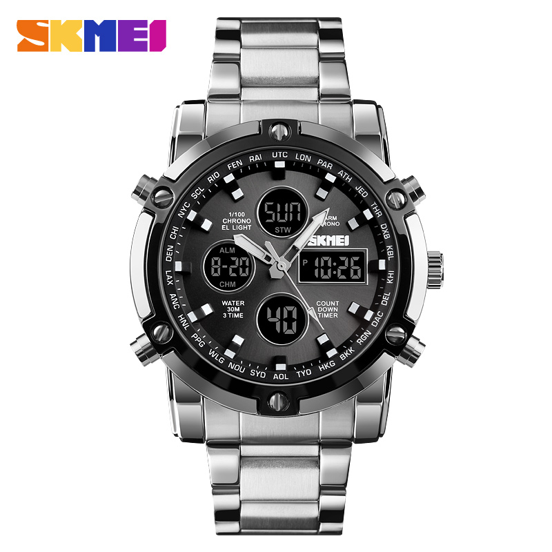 <font><b>SKMEI</b></font> Outdoor Quartz Men Digital Watch Full Steel Strap Chronograph Countdown Resistant Wristwatch Clock Relogio Masculino image