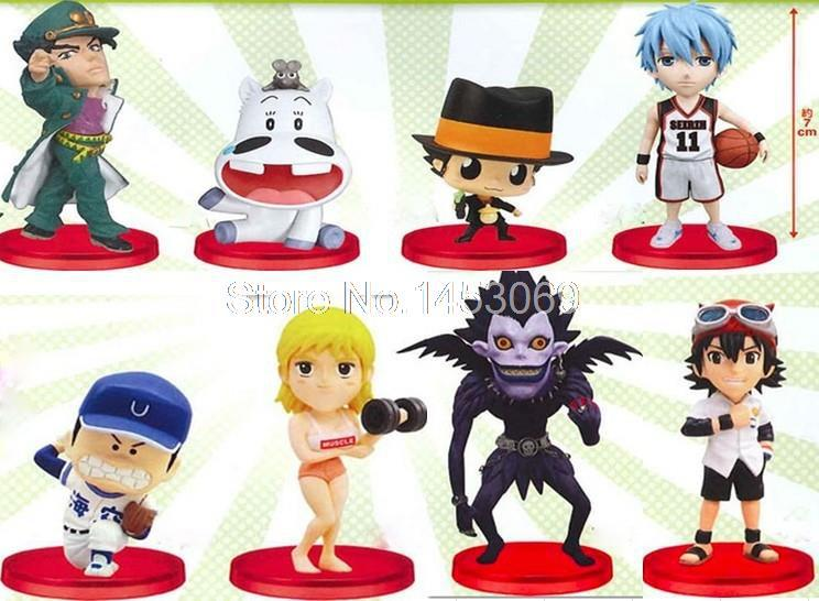 8pcs/set Anime Cartoon Kuroko's Basketball Death Note Hitman Reborn PVC Action Figure Collection Model Toys Dolls JP007