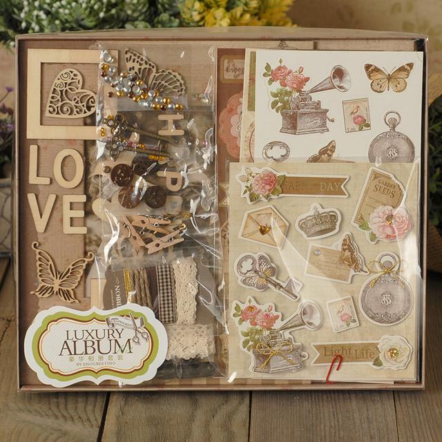 BRICOLAGE Albums Scrapbooking Papier Pad Kit Artisanat Fait Main Coerver Photographie Luxe Amant Photo 3D Albums Papier Accessoires Ensemble