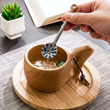 1PC  Japanese Style Creative Ceramic Blue And White  Porcelain Long Handle Dessert Spoon Tea Coffee Spoon
