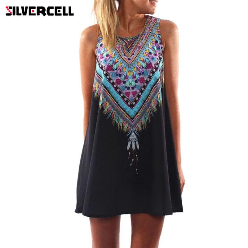 SILVERCELL nyári rövid sifon ruha női alkalmi Boho strand mini - Női ruházat