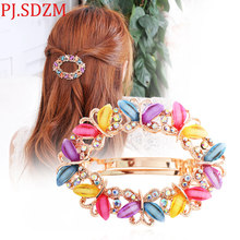Fashion Girl Horsetail Azure Stone Butterfly Hairpins Flower Austria Crystal Hair Clip Luxury Rhinestone Spring Clip Accessory(China)