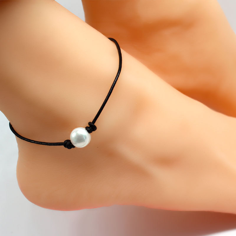 Summer Beach Leather Rope Pearl Anklets Black Adjustable Foot Chain Anklet Bracelet for Women Bohemian Jewelry