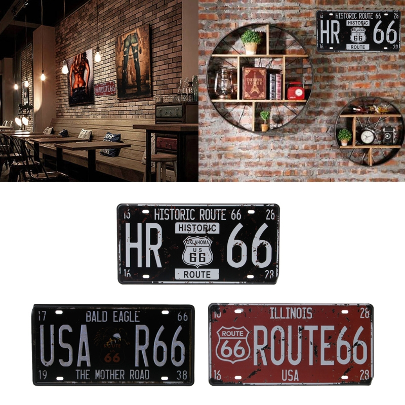 USA Route 66 Car Vintage License Plate Metal Wall Craft Retro Home Garage Decor