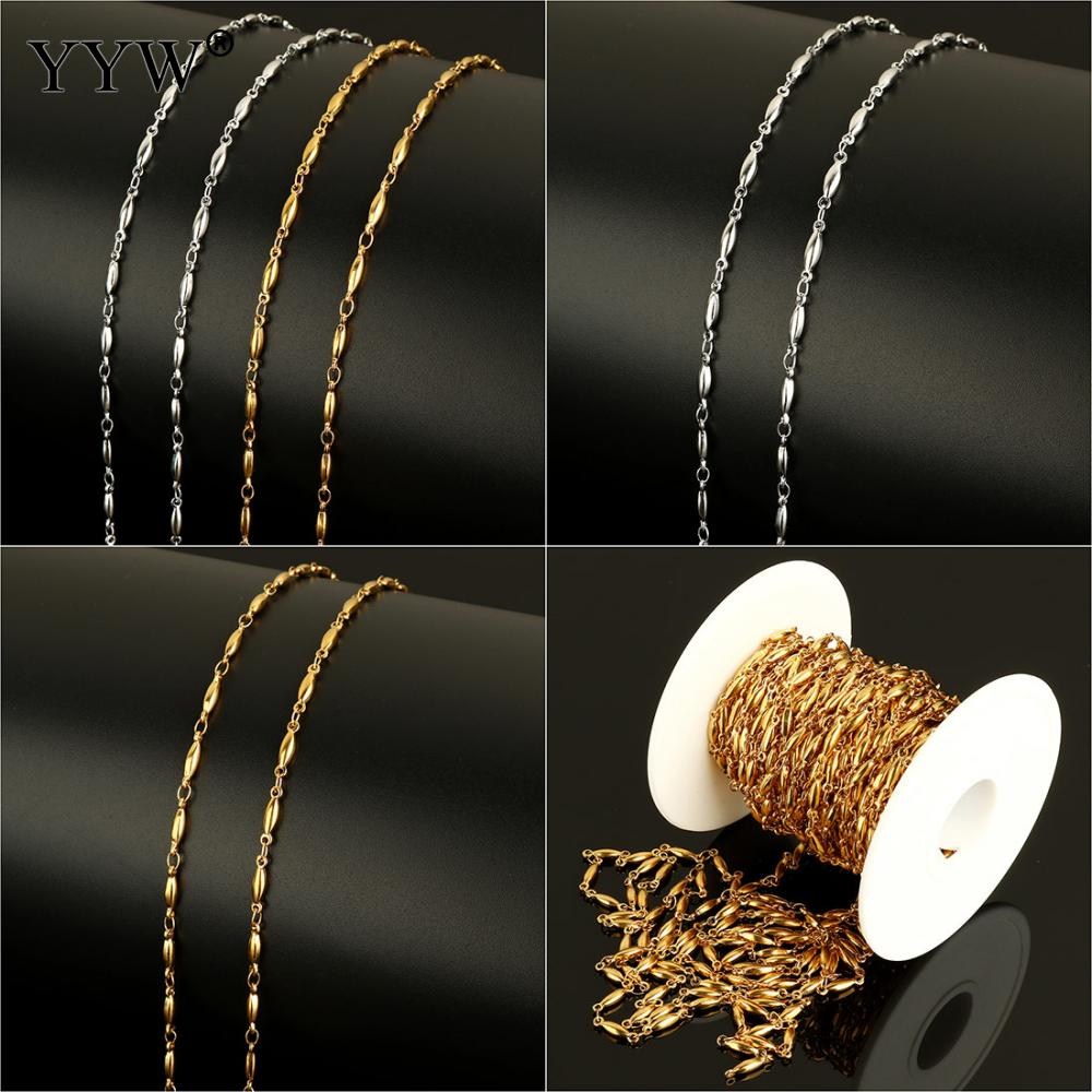 2019 Stainless Steel Chain With Plastic Spool Gold Sliver Plated 10m Chain Roll Jewelry Making Necklace Bracelet Reel Bobbin