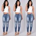 2016 Nuevo Llega El Otoño de Las Mujeres Atractivas de Mezclilla Pantalones Pitillo de Talle Alto Stretch Jeans Pantalones Lápiz Delgado