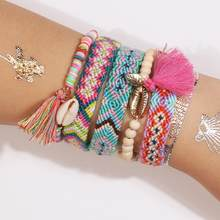 Artilady 3 Woven Friendship Bracelets Shell Bracelet String for Women Boho Handmade Woven Rope Gift(China)