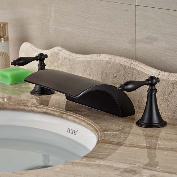 Luxury Oil Rubbed Bronze Waterfall Roman Bathroom Faucet Widespread Mixer Tap