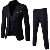 (Jacket+Pant+Vest) Luxury Men Wedding Suit Male Blazers Slim Fit Suits For Men Costume Business Formal Party Black Classic Red