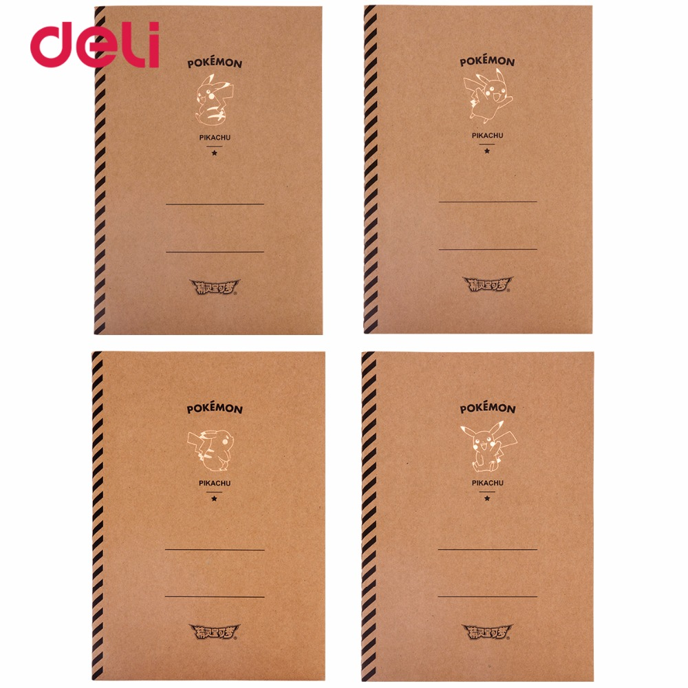 Deli cute Stitching Binding Notebook Soft Cover A5 pokemon pikachu Cartoon Diary Noteboo ...