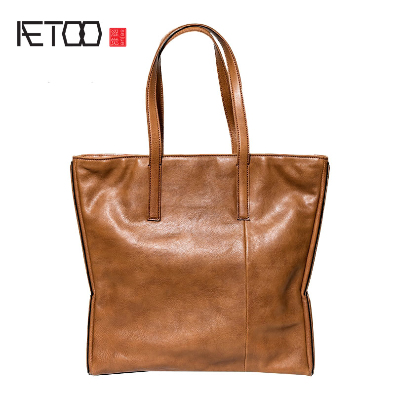 AETOO Original handmade leather personality large-capacity single shoulder female simple first layer leather art bag