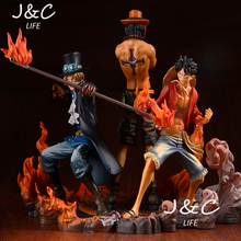 Free Shipping Hot Sale 3PCS/SET 14-17CM One Piece Fire attack Three brothers ace luffy saab action figure toys Christmas Gifts