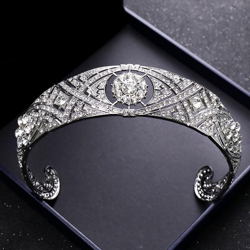 Classic Vintage Princess Diana Crown Crystal Pearl Bridal Wedding Tiara Crowns Hair Accessories Jewelry High Qualig A30