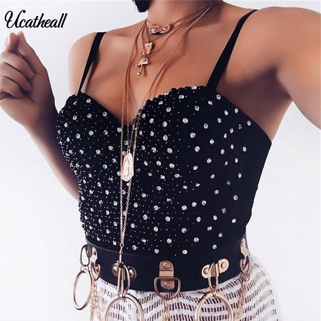 0e9d9c3f0ee80 Sexy Beaded Gaga Bustier Crop Top Pearls For Night Club Bustier Top Off  Shoulder Women s Jeweled
