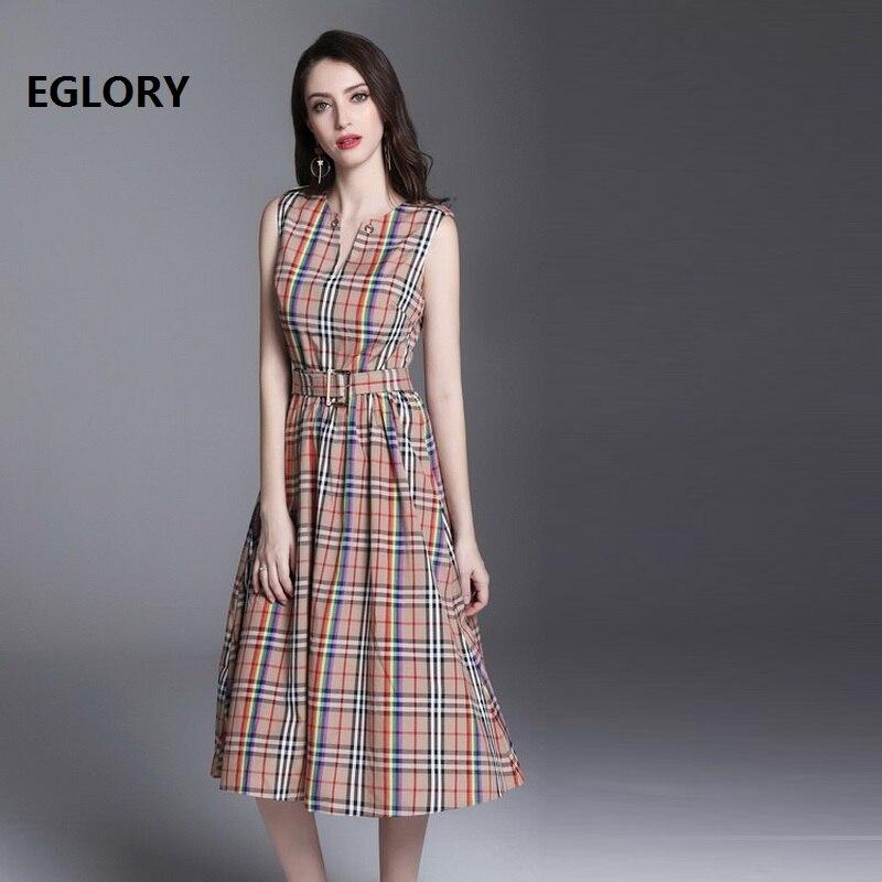 New British Style Women Elegant Office Dress 2018 Summer Work Ladies Vintage Plaid Print Sleeveless A-Line Tunic Cotton Dress