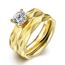 18K Yellow Gold Fashion Sets Diamond Rings for Women Luxury Fine Jewelry 925 Sterling Silver Geometric Type Trendy Simple Style