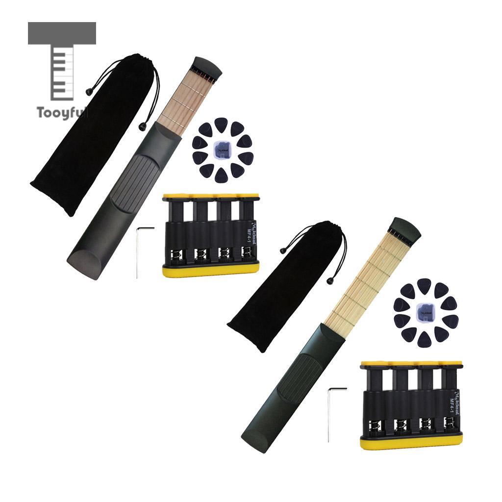 Tooyful Portable Pocket Guitar Practice Tool Gadget 6 Fret + Guitar Bass Finger Exerciser + Guitar Picks