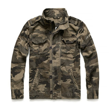 KIMSERE Men's Vintage Camouflage Cargo Jackets Military Style Workwear Tactical Jacket Outerwear For Male Washed 100% Cotton