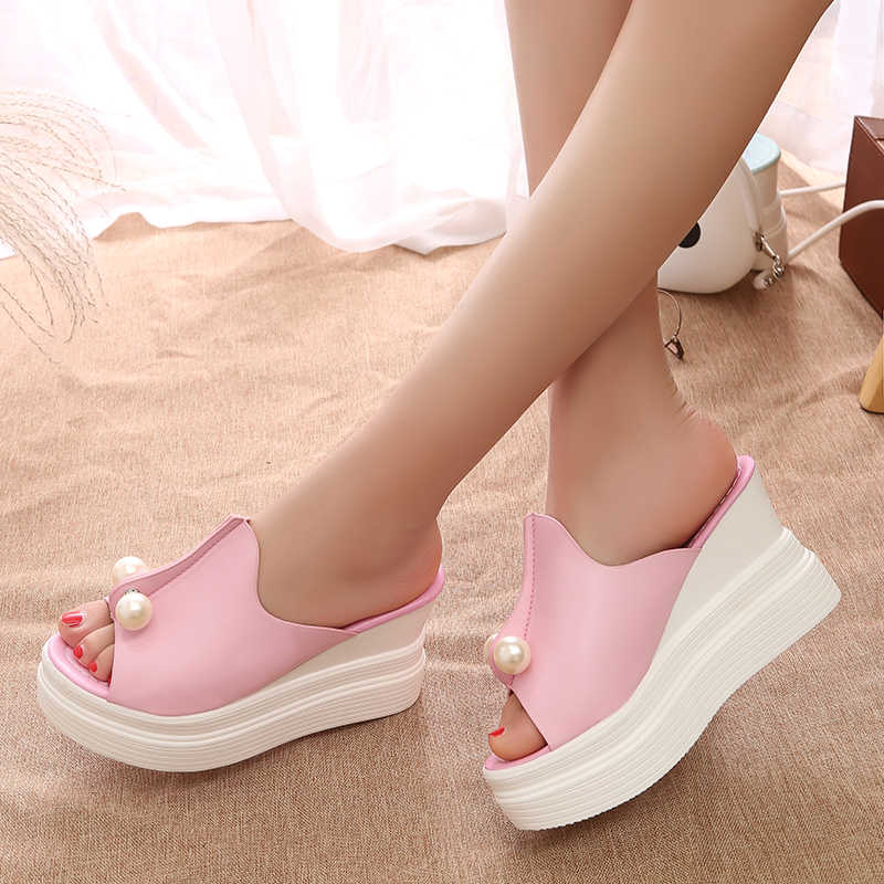 90361a6824a6 Summer High Heels Sandals Wedges Shoes For Women Platform Shoes Ankle Strap  Slippers Adult ladies Slip .