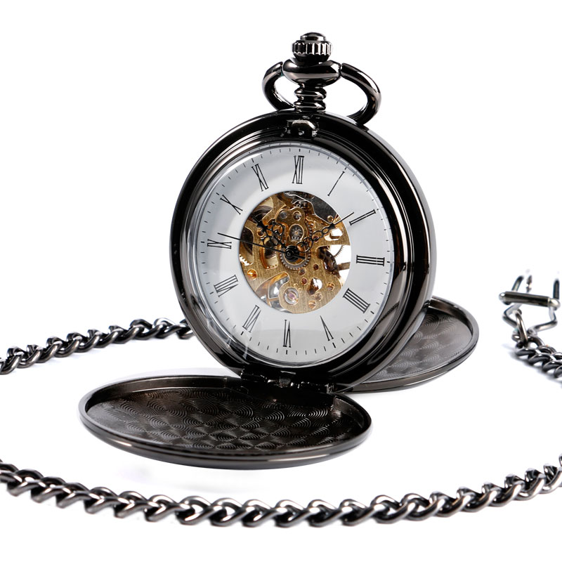 Luxury Black Smooth Double Hunter Mechanical Hand Wind Steampunk Skeleton Pocket Watch Mens Roman Numeral Male Women Fob Pendant retro roman numerals skeleton smooth sliver black mechanical pocket watch pendant men women with chain fob watches tjx050