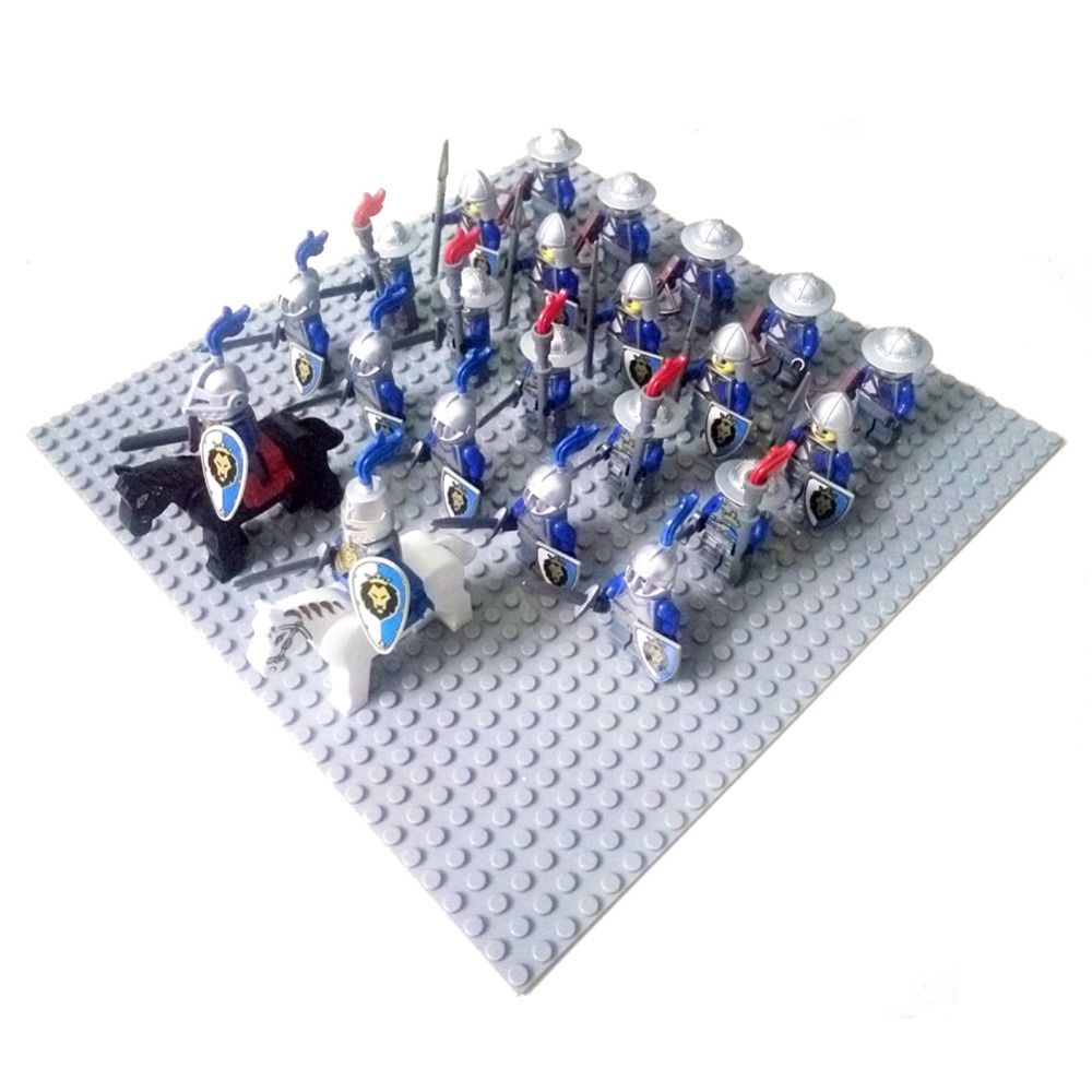 24pcs Dragoon Castle Royal King's Knight Blue Lion Knights Battle Steed Rome Cavalry Warrior Building Block Mini Figure