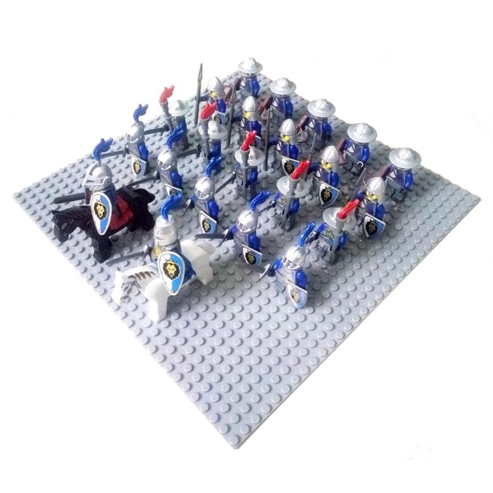 24pcs Dragoon Castle Royal King's Knight Blue Lion Knights Battle Steed Rome Cavalry Warrior Building Block Mini Figure