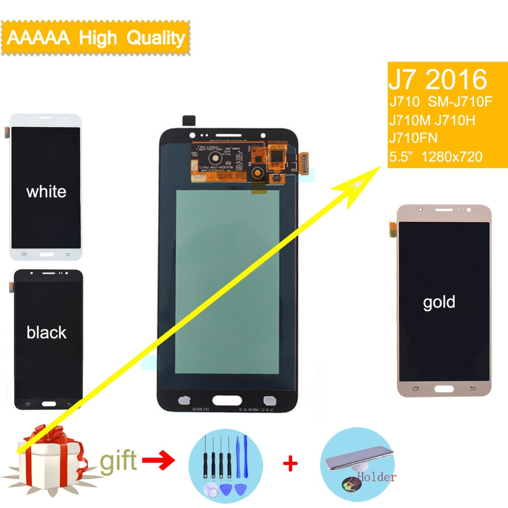 AMOLED ЖК-дисплей для SAMSUNG Galaxy J7 2016 ЖК-дисплей Дисплей Сенсорный экран сборки J7 2016 J710M J710F J710H оригинальный ЖК-дисплей Дисплей выполните