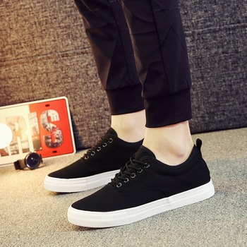 18 color Men Canvas Shoes Height Increasing Low black White Men Shoes Lace-Up Breathable Casual Shoes Men Loafers KM220-245 C1