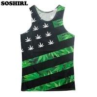 fbd7972822938 SOSHIRL Bodybuilding Men s Tank Tops 3D Print Weed Leaf Sleeveless T-shirt  Flag Vest Man