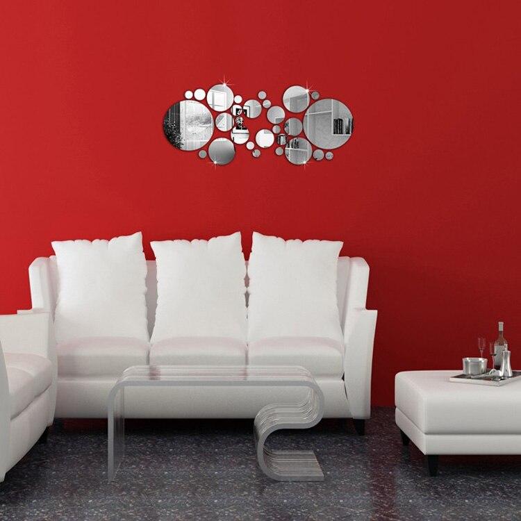 1 Satz Silber Polka Dot Spiegel Wandaufkleber Home Schlafzimmer Büro - Wohnkultur - Foto 4