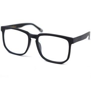 Image 4 - Posesion Vierkante Acetata Grote Mannen Brillen Frames Vintage Houten Grote Gezicht Vrouwen Bijziend Optische Glazen Clear Lens Eyewear
