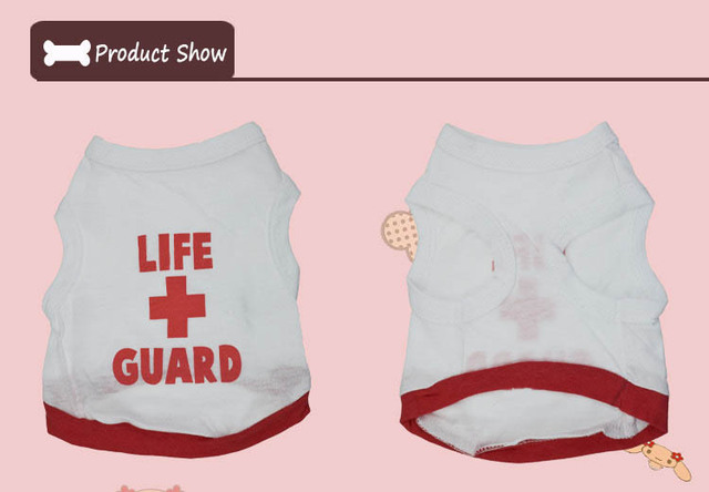100% Cotton Puppy Dog Vest LIFE GUARD Sleeveless Top Clothes Outdoor Home Leisure T-shirt Coat Clothing For Small Dogs 4